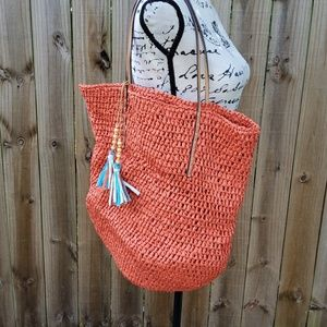Ann Taylor Orange Paper Tassel Tote Bag